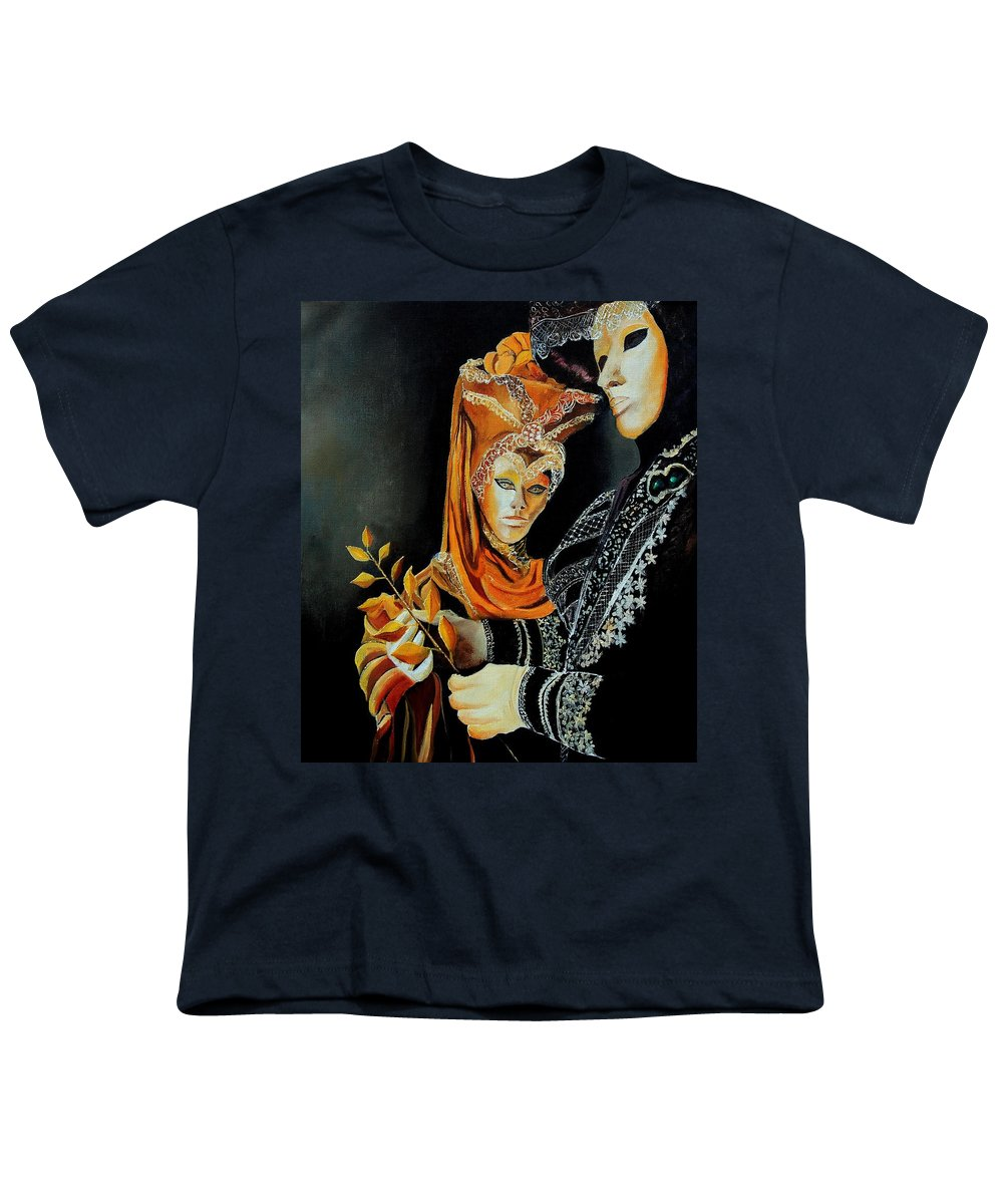 Mask Venice Carnavail Italy Youth T-Shirt featuring the painting Two Masks In Venice by Pol Ledent