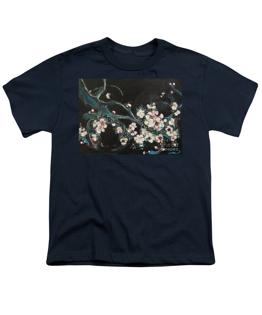 Ume Blossoms Paintings Youth T-Shirt featuring the painting Ume Blossoms2 by Seon-Jeong Kim