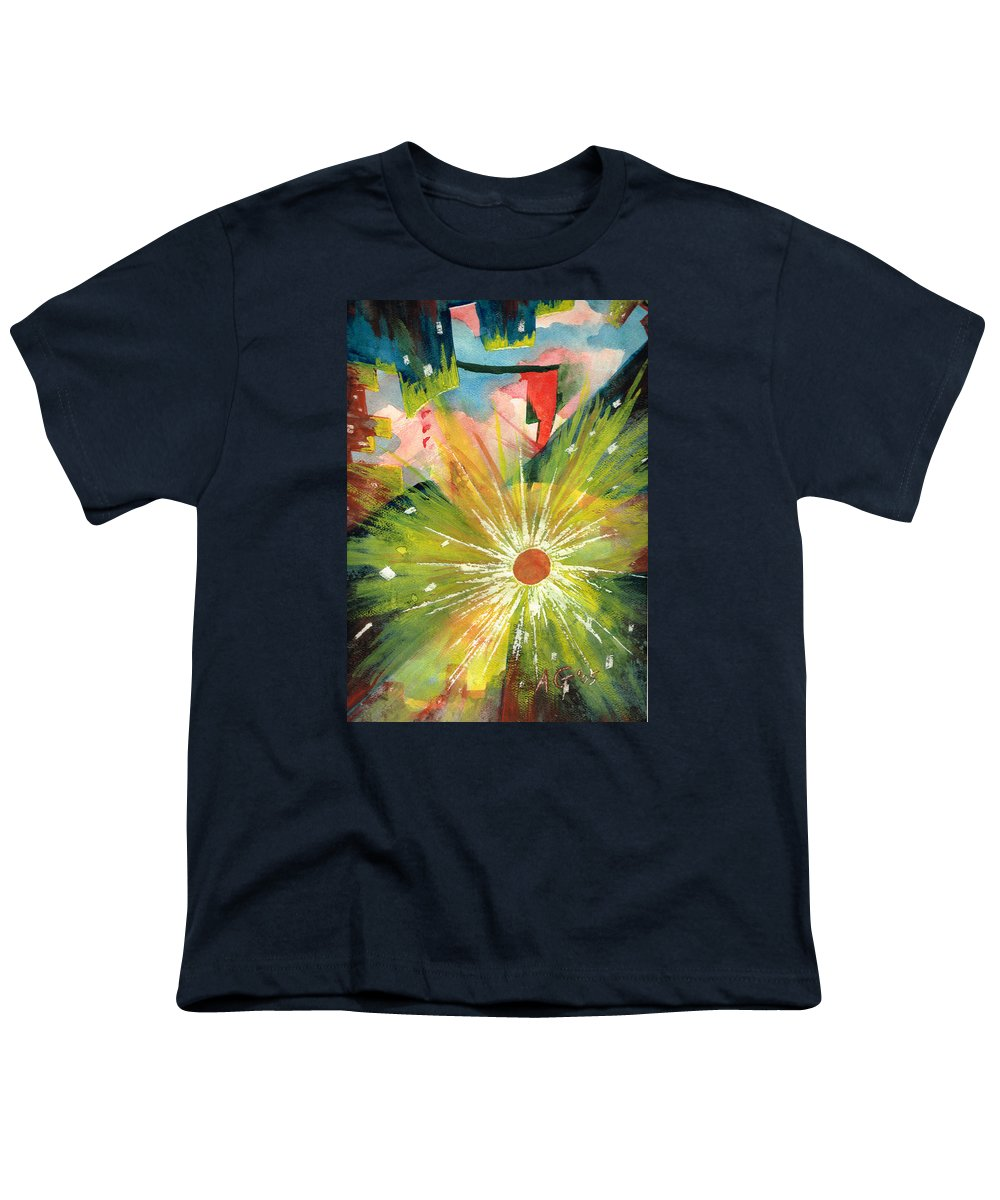 Downtown Youth T-Shirt featuring the painting Urban Sunburst by Andrew Gillette