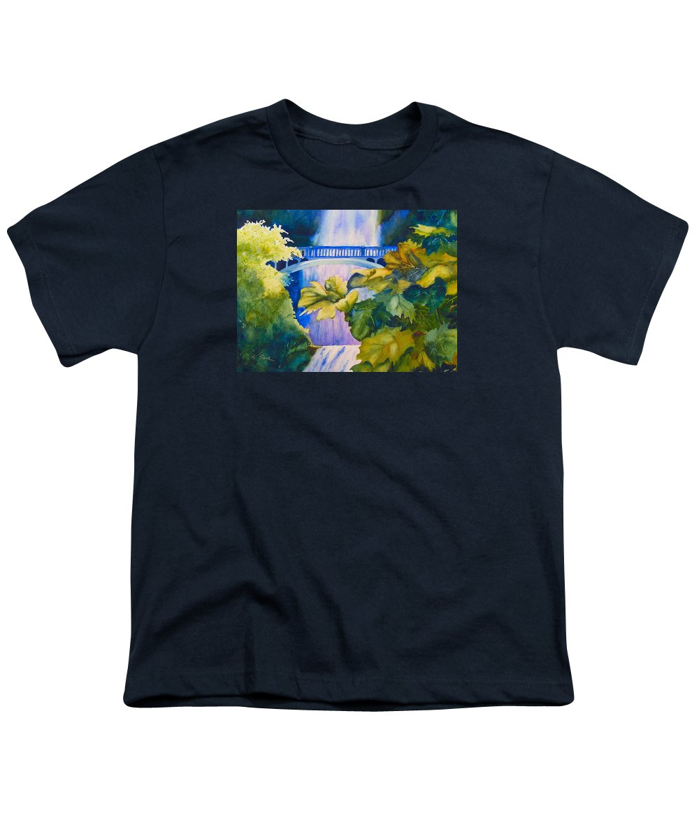 Waterfall Youth T-Shirt featuring the painting View Of The Bridge by Karen Stark
