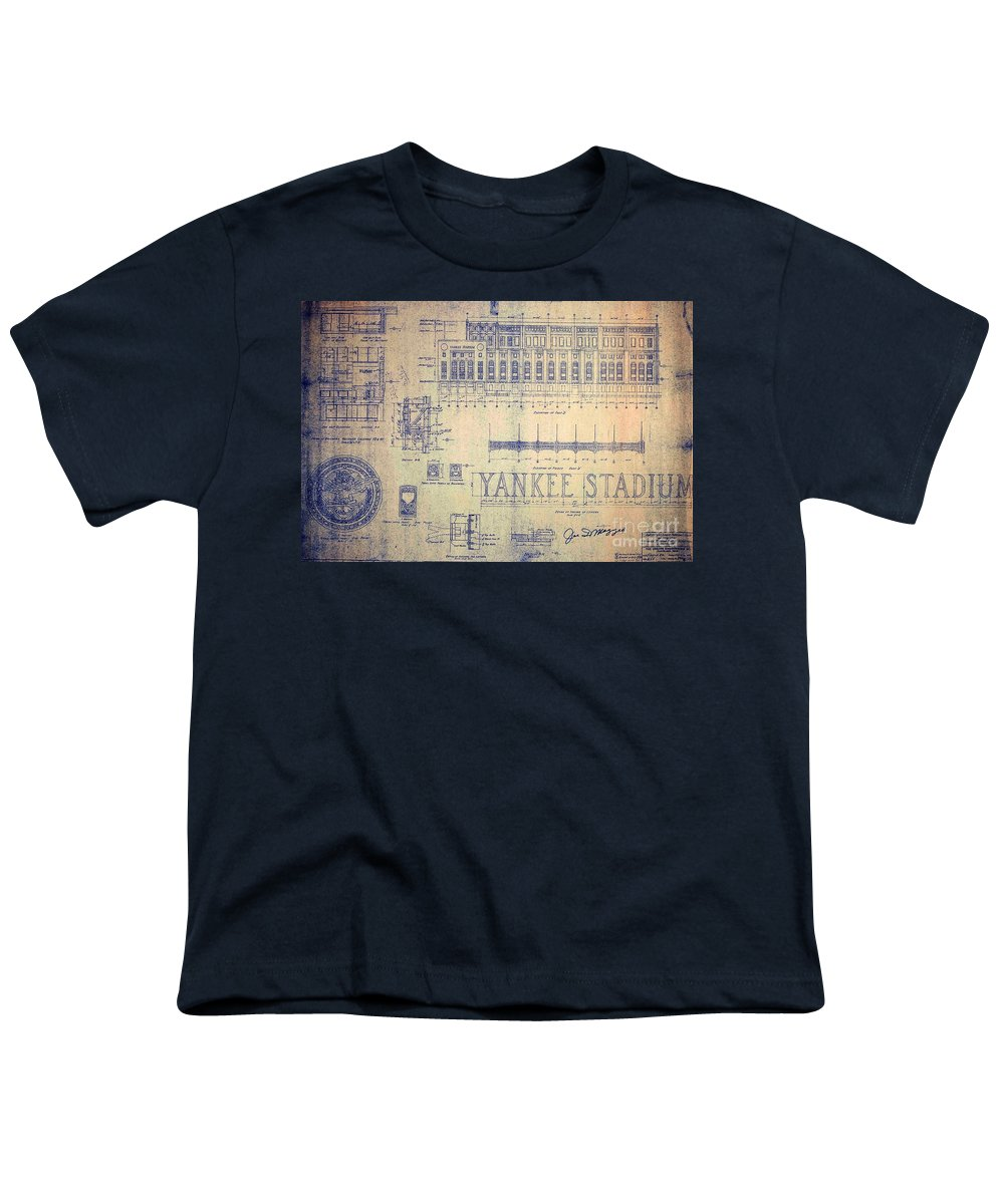 Joe Dimaggio Youth T-Shirt featuring the drawing Vintage Yankee Stadium Blueprint by Peter Ogden Gallery