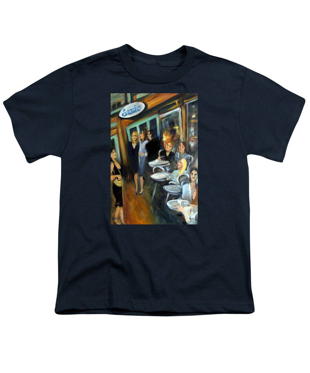 Sidewalk Cafe Youth T-Shirt featuring the painting Waiting For A Table by Valerie Vescovi