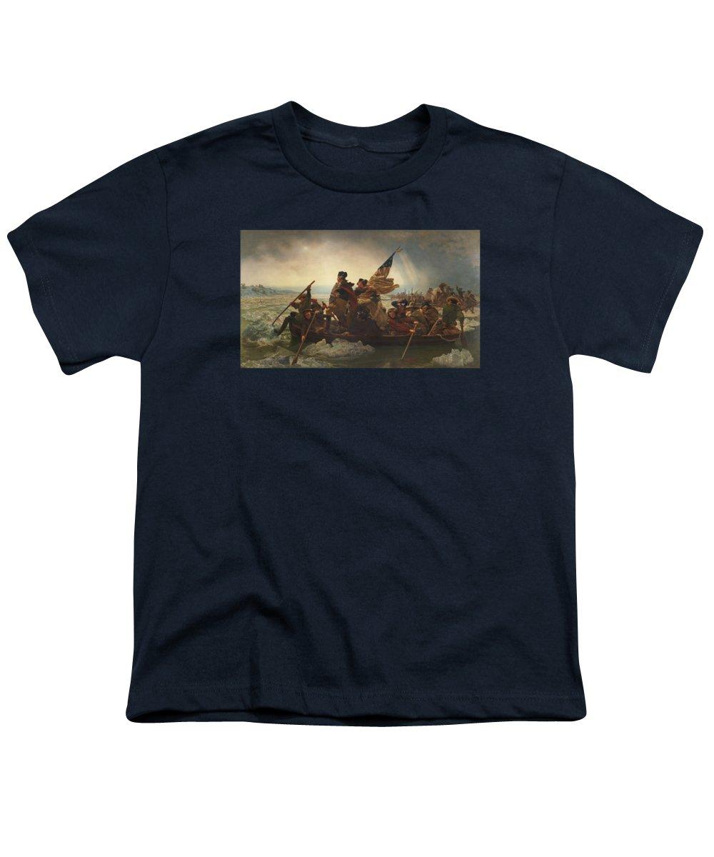 Washington Crossing The Delaware Youth T-Shirt featuring the painting Washington Crossing The Delaware Painting by Emanuel Gottlieb Leutze