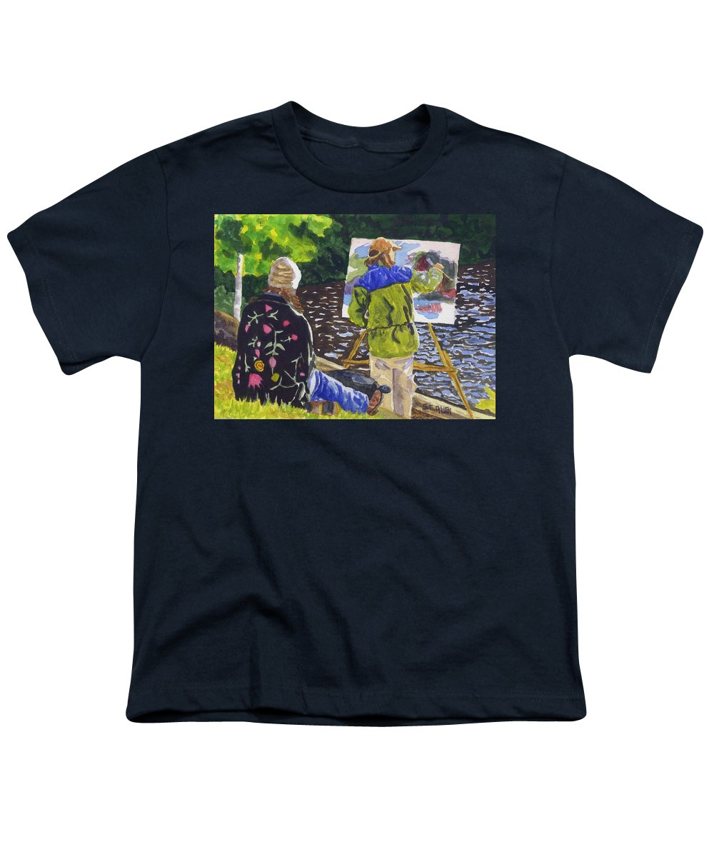 Artist Youth T-Shirt featuring the painting Watching The Maestro by Sharon E Allen