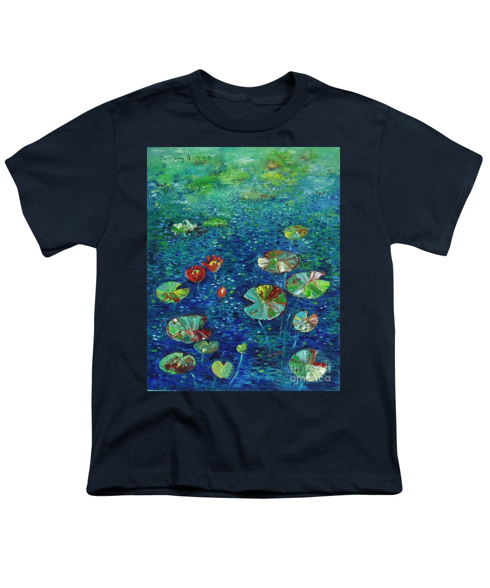 Lotus Paintings Youth T-Shirt featuring the painting Water Lily Lotus Lily Pads Paintings by Seon-Jeong Kim
