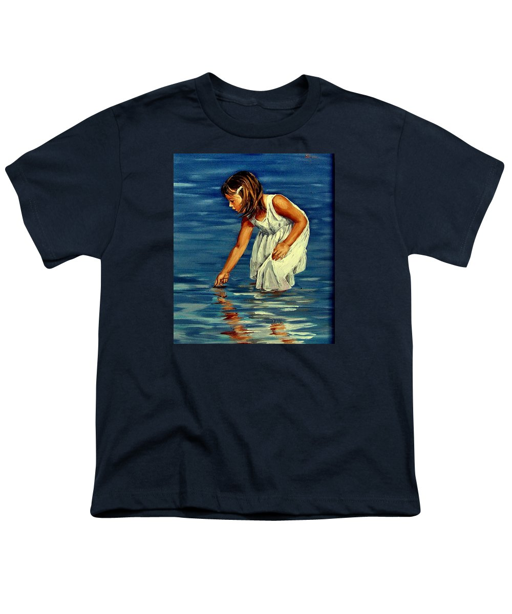 Girl Youth T-Shirt featuring the painting White Dress by Natalia Tejera