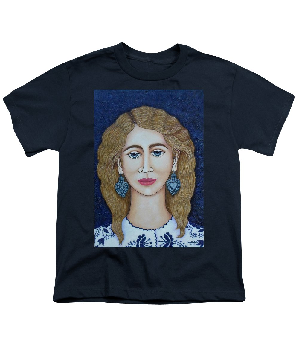 Woman Youth T-Shirt featuring the painting Woman With Silver Earrings by Madalena Lobao-Tello
