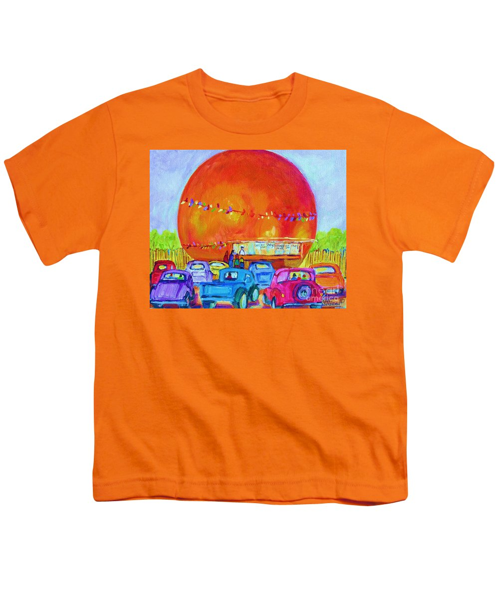 Cars Youth T-Shirt featuring the painting Antique Cars At The Julep by Carole Spandau