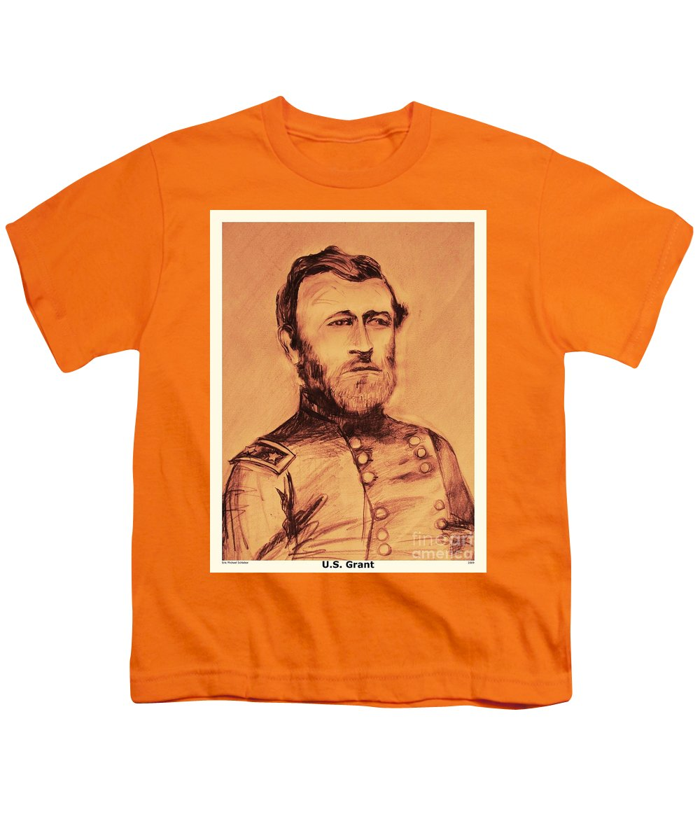 Grant Youth T-Shirt featuring the painting General Us Grant by Eric Schiabor