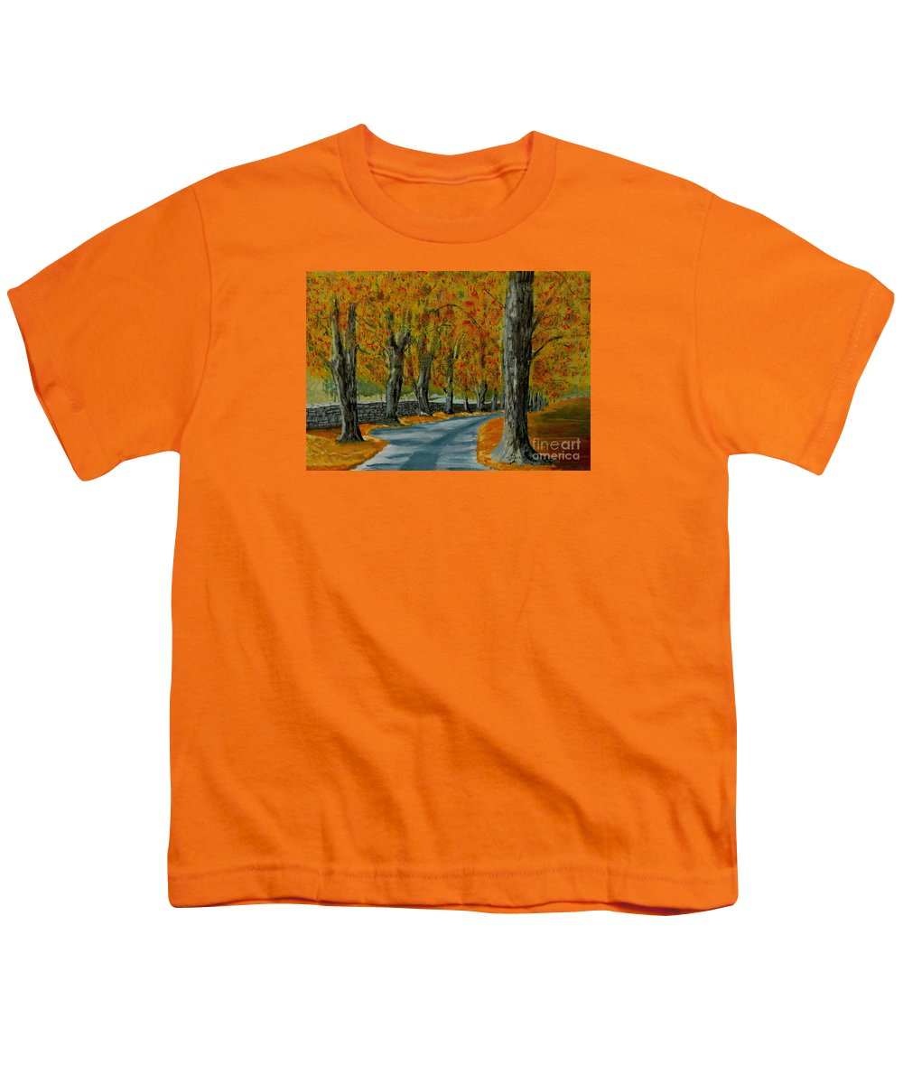 Autumn Youth T-Shirt featuring the painting Autumn Pathway by Anthony Dunphy