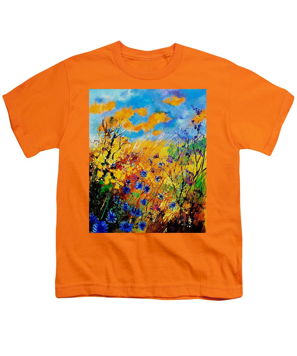Poppies Youth T-Shirt featuring the painting Blue Cornflowers 450408 by Pol Ledent