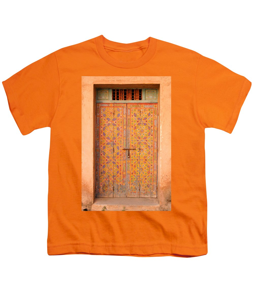 Door Youth T-Shirt featuring the photograph Colourful Entrance Door Sale Rabat Morocco by Ralph A Ledergerber-Photography