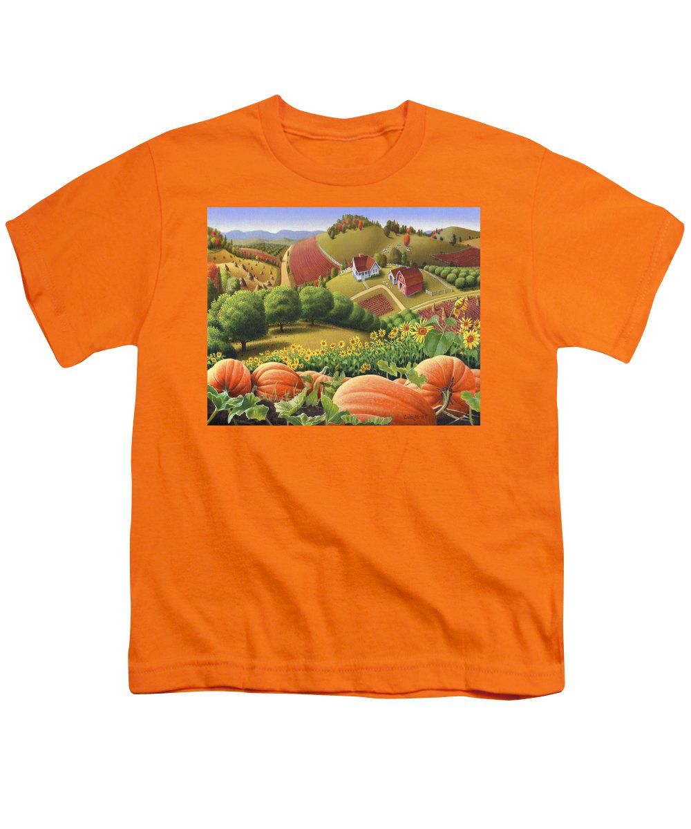 Pumpkin Youth T-Shirt featuring the painting Farm Landscape - Autumn Rural Country Pumpkins Folk Art - Appalachian Americana - Fall Pumpkin Patch by Walt Curlee