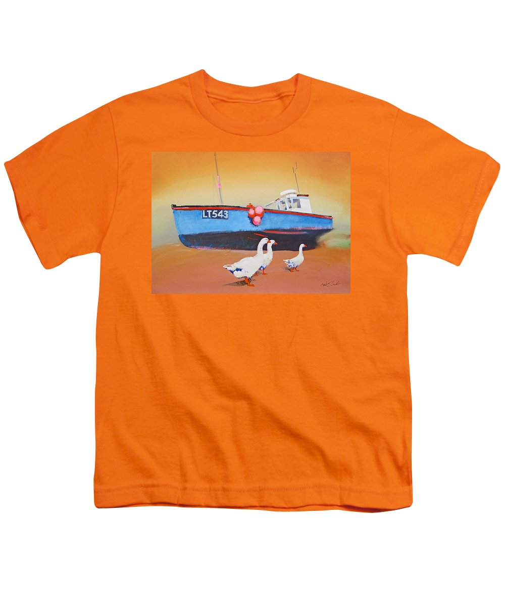 Geese Youth T-Shirt featuring the painting Fishing Boat Walberswick With Geese by Charles Stuart