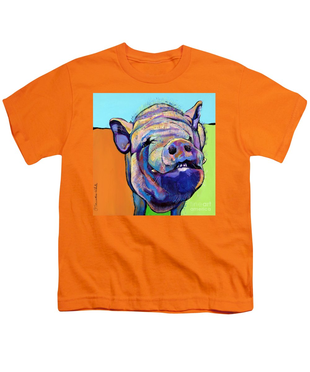 Pat Saunders-white Canvas Prints Youth T-Shirt featuring the painting Grunt  by Pat Saunders-White