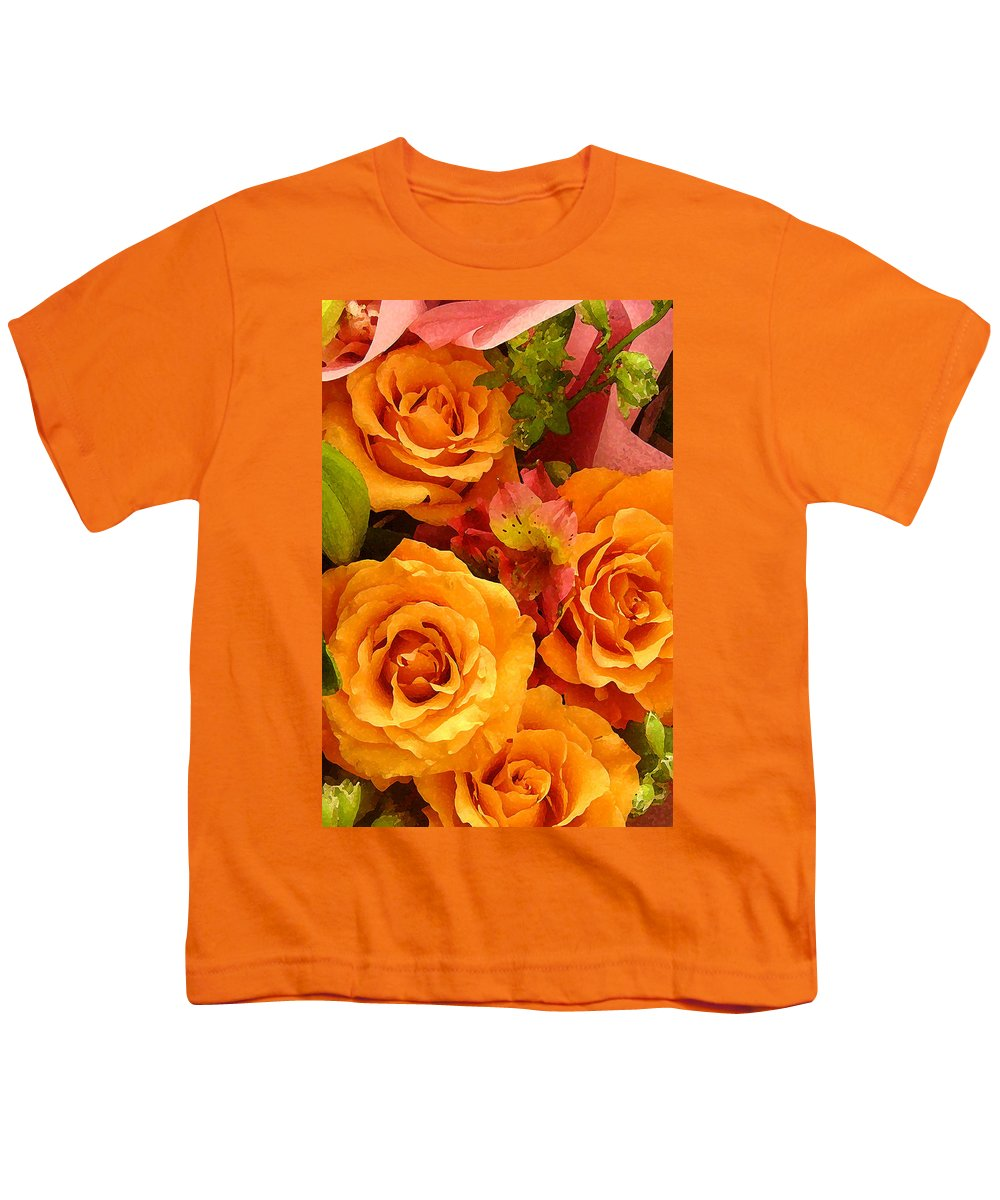 Roses Youth T-Shirt featuring the painting Orange Roses by Amy Vangsgard