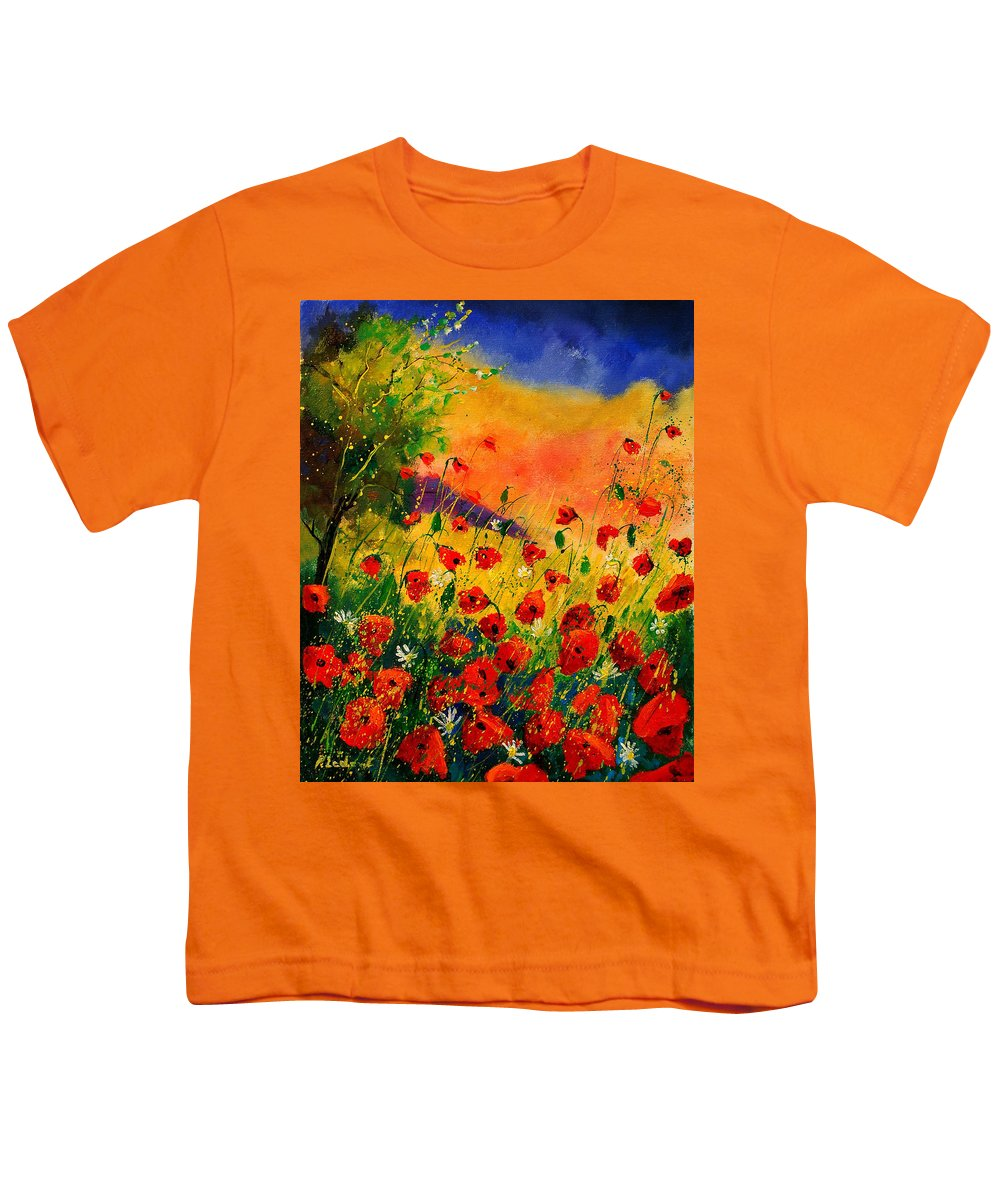 Poppies Youth T-Shirt featuring the painting Red Poppies 45 by Pol Ledent