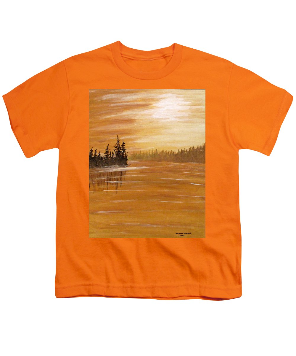 Northern Ontario Youth T-Shirt featuring the painting Rock Lake Morning 1 by Ian MacDonald