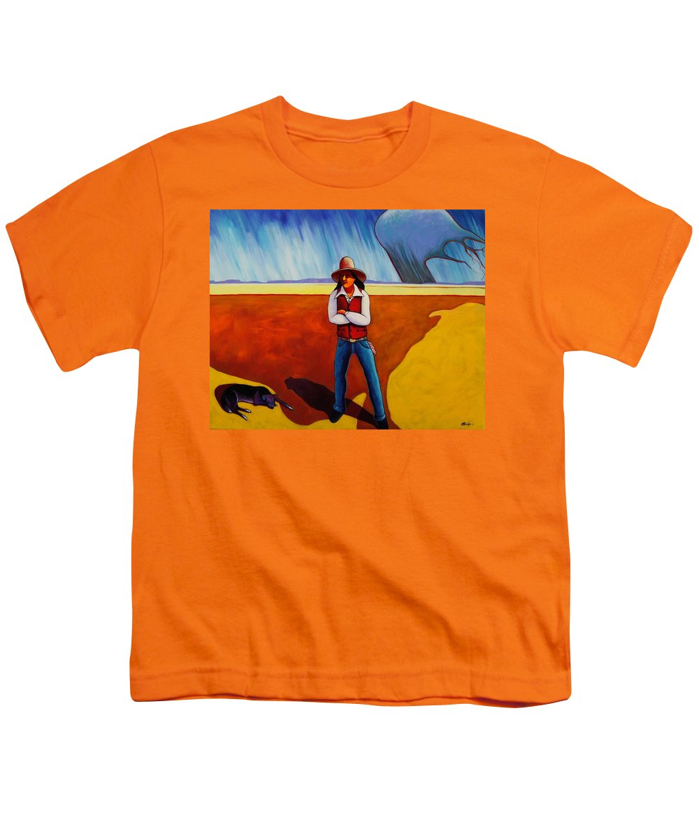 Native American Youth T-Shirt featuring the painting The Logic Of Solitude by Joe Triano