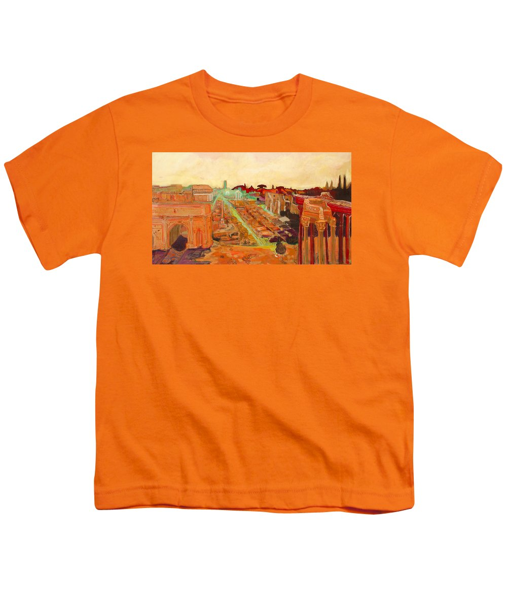 Rome Youth T-Shirt featuring the painting Foro Romano by Kurt Hausmann