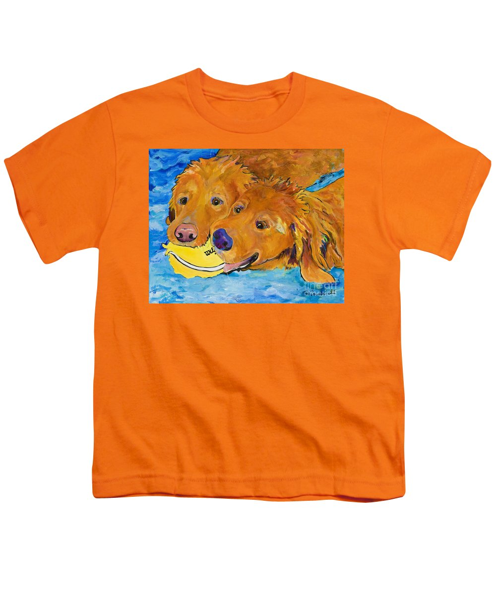 Golden Retriever Youth T-Shirt featuring the painting Double Your Pleasure by Pat Saunders-White