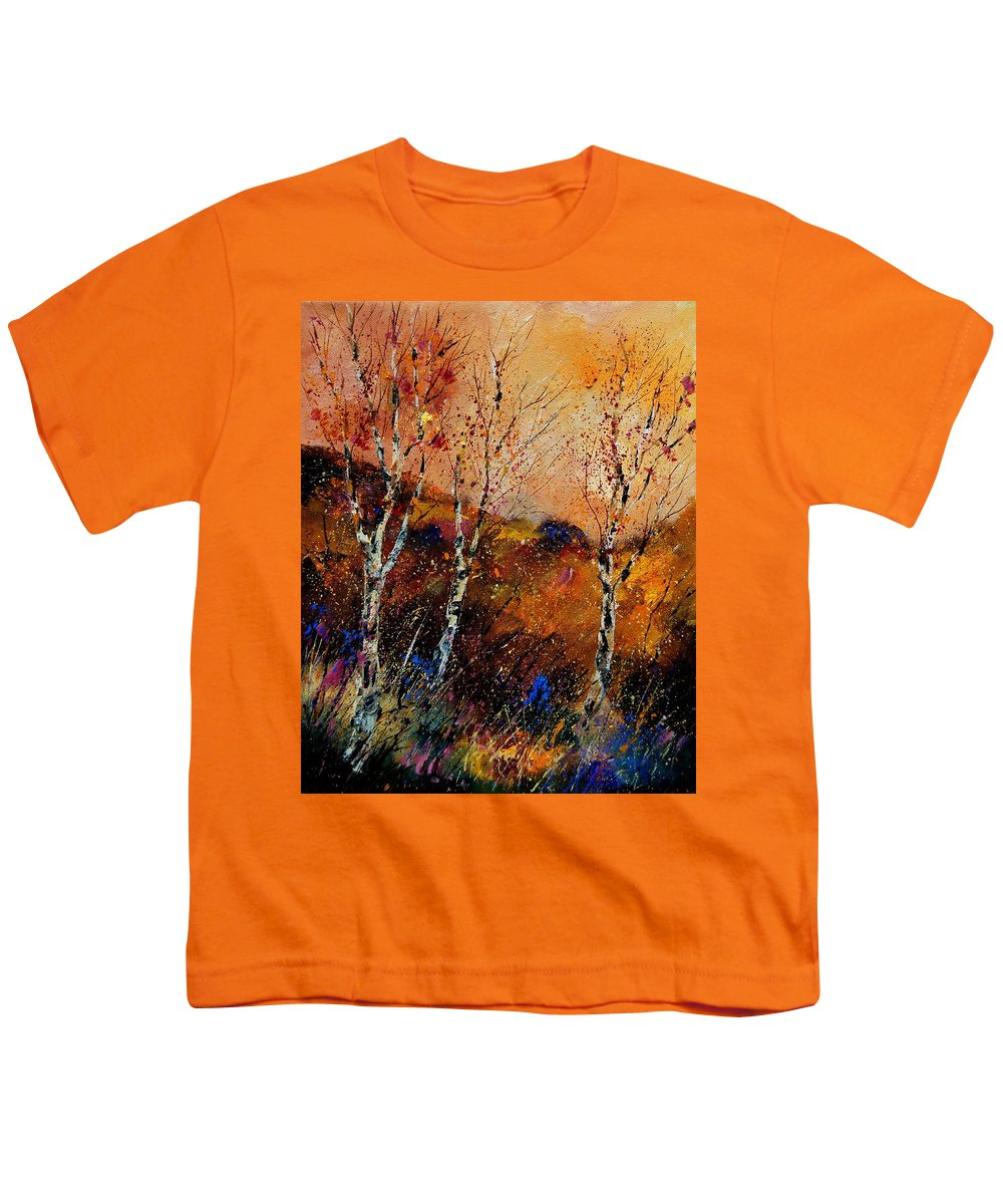 River Youth T-Shirt featuring the painting 3 Poplars by Pol Ledent