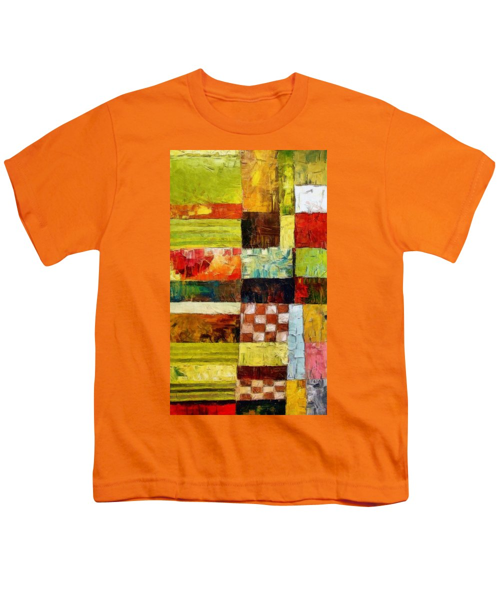 Patchwork Youth T-Shirt featuring the painting Abstract Color Study With Checkerboard And Stripes by Michelle Calkins