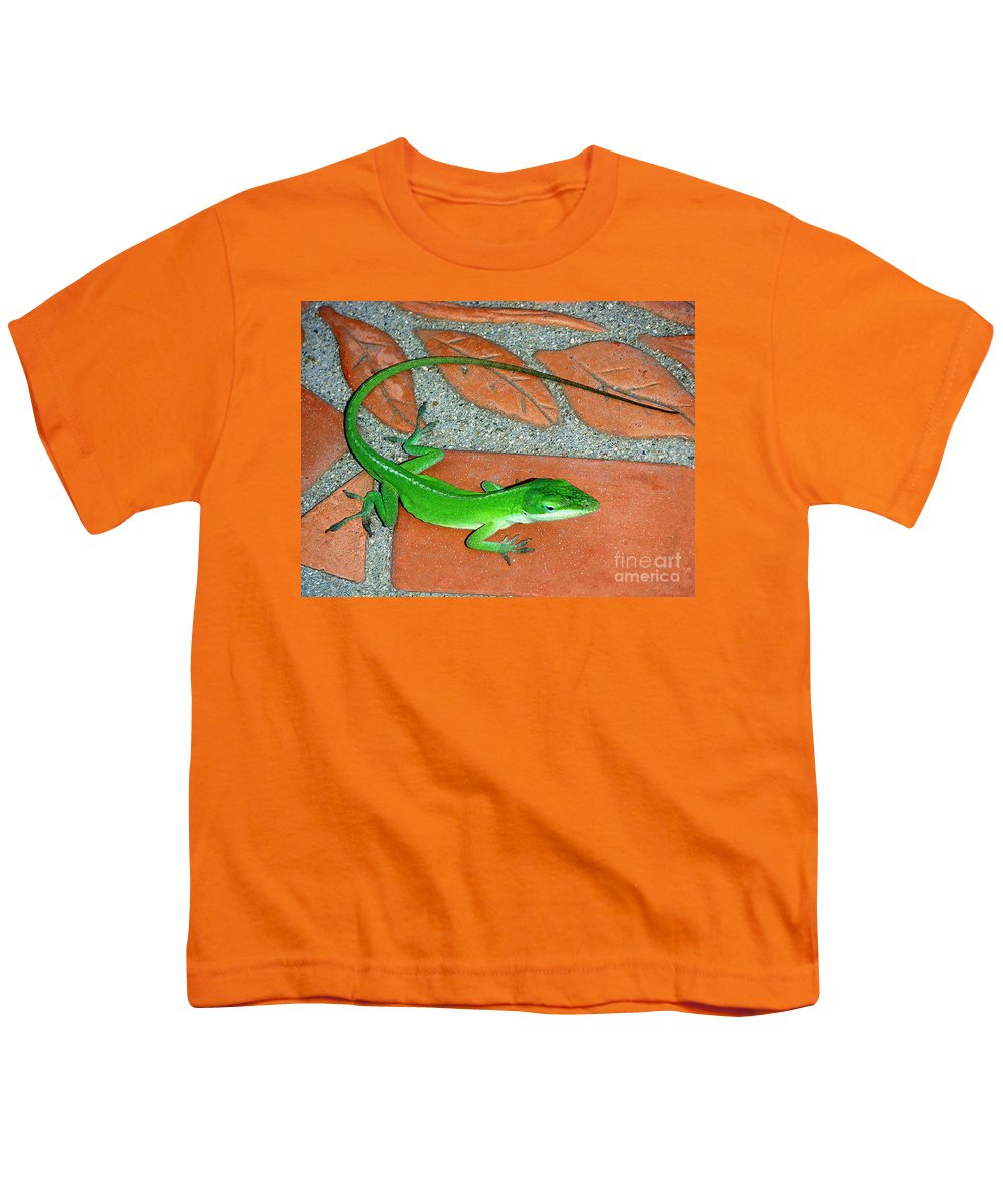 Nature Youth T-Shirt featuring the photograph Anole On Chair Tiles by Lucyna A M Green