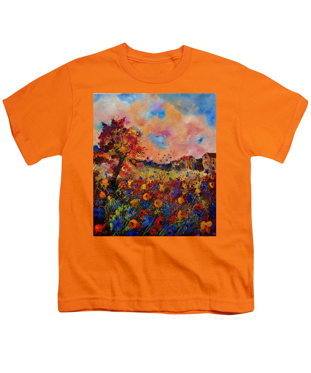 Poppies Youth T-Shirt featuring the painting Autumn Colors by Pol Ledent