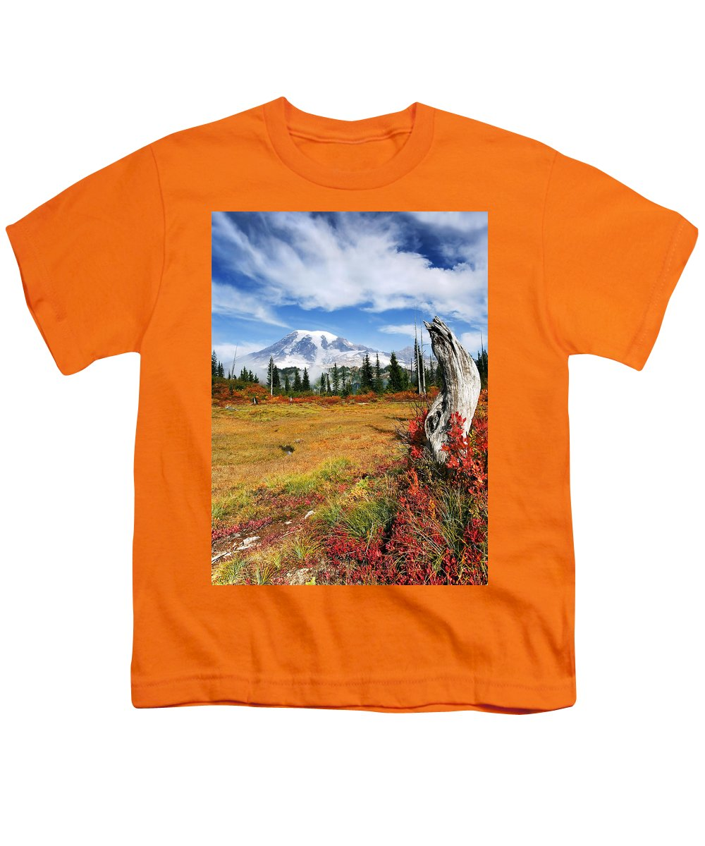 Rainier Youth T-Shirt featuring the photograph Autumn Majesty by Mike Dawson