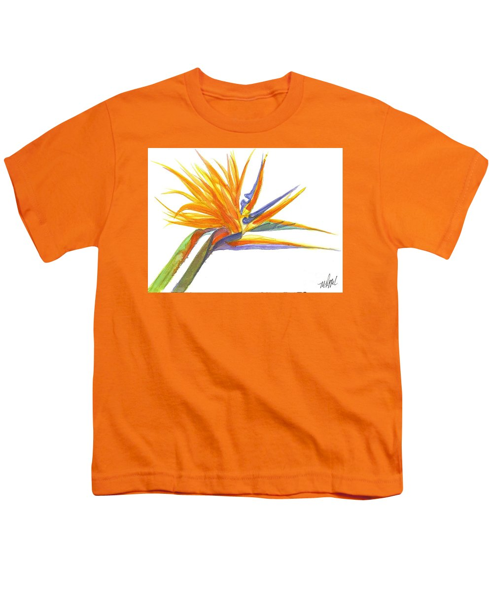 Bird Of Paradise Youth T-Shirt featuring the painting Bird Of Paradise by Midge Pippel