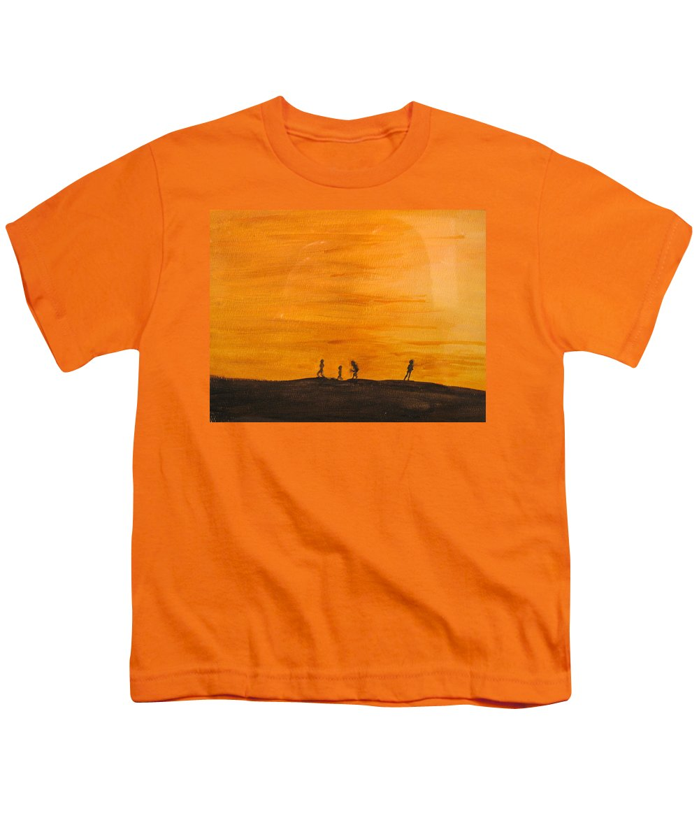 Boys Youth T-Shirt featuring the painting Boys At Sunset by Ian MacDonald