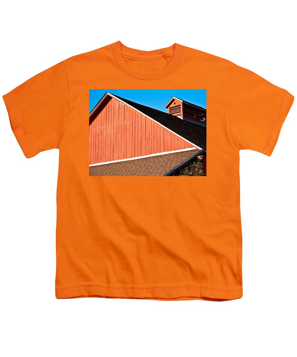 Americana Youth T-Shirt featuring the photograph Bright Red Barn by Marilyn Hunt