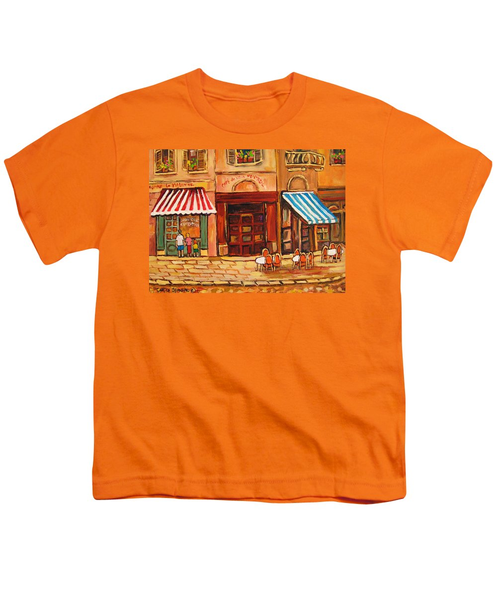 Cafe Vieux Montreal Street Scenes Youth T-Shirt featuring the painting Cafe Vieux Montreal by Carole Spandau