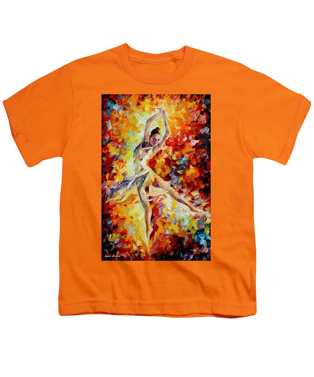 Danse Youth T-Shirt featuring the painting Candle Fire by Leonid Afremov