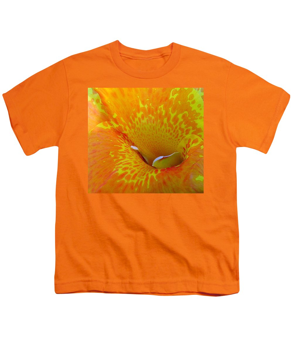 Orange Yellow Flower Youth T-Shirt featuring the photograph Canna by Luciana Seymour