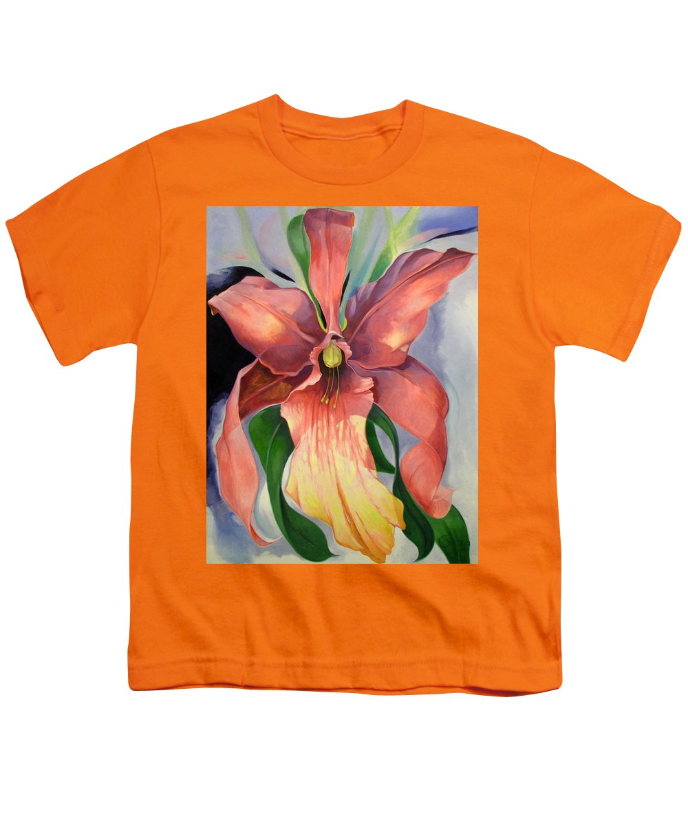 Catalya Youth T-Shirt featuring the painting Catalya Orchid by Jerrold Carton