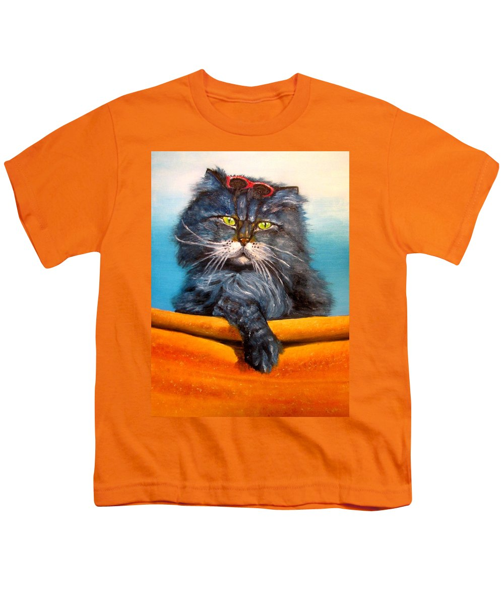 Cat Youth T-Shirt featuring the painting Cat.go To Swim.original Oil Painting by Natalja Picugina