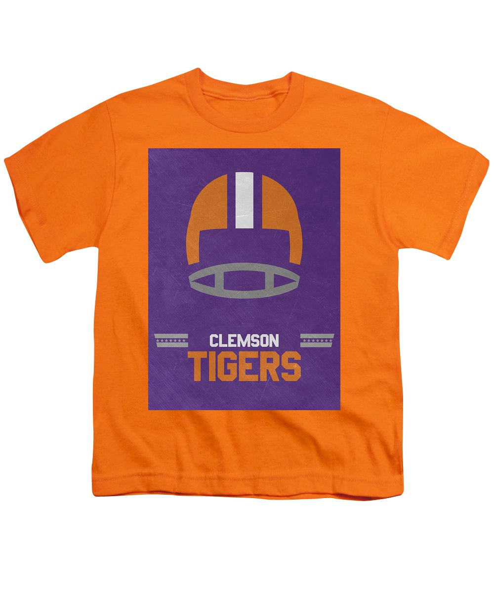 Tigers Youth T-Shirt featuring the mixed media Clemson Tigers Vintage Football Art by Joe Hamilton