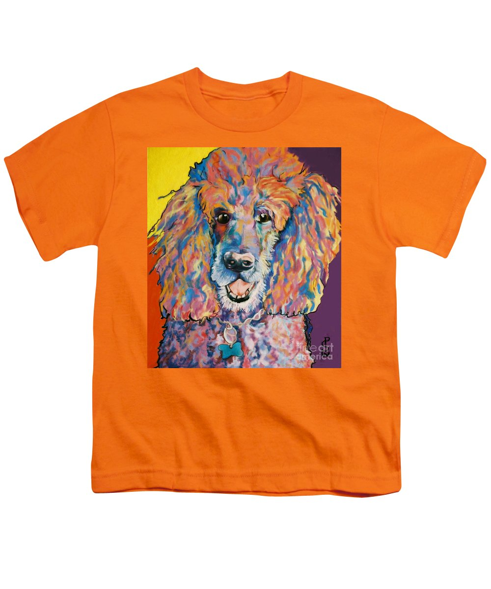 Standard Poodle Youth T-Shirt featuring the painting Cole by Pat Saunders-White
