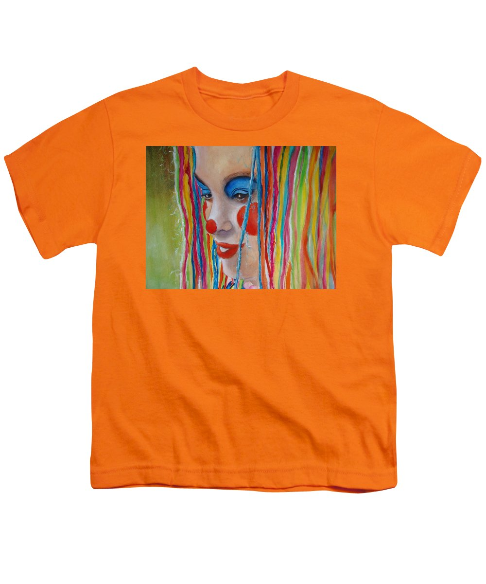 Clowns Youth T-Shirt featuring the painting Complementary by Myra Evans