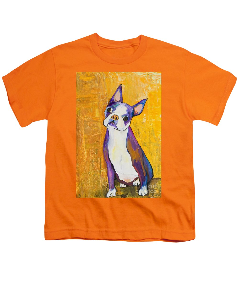 Boston Terrier Animals Acrylic Dog Portraits Pet Portraits Animal Portraits Pat Saunders-white Youth T-Shirt featuring the painting Cosmo by Pat Saunders-White