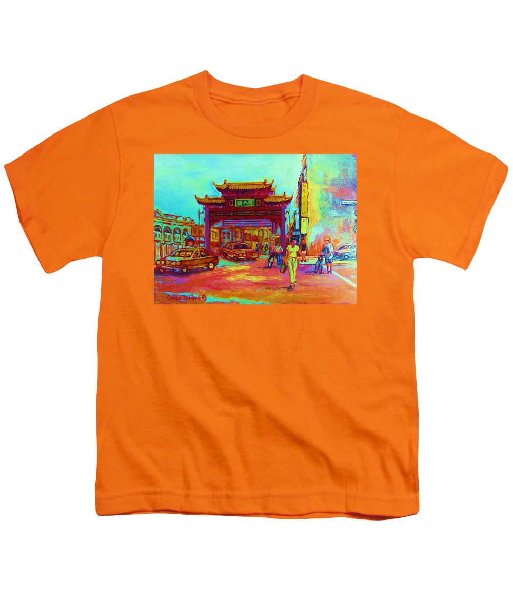 Montreal Youth T-Shirt featuring the painting Entrance To Chinatown by Carole Spandau