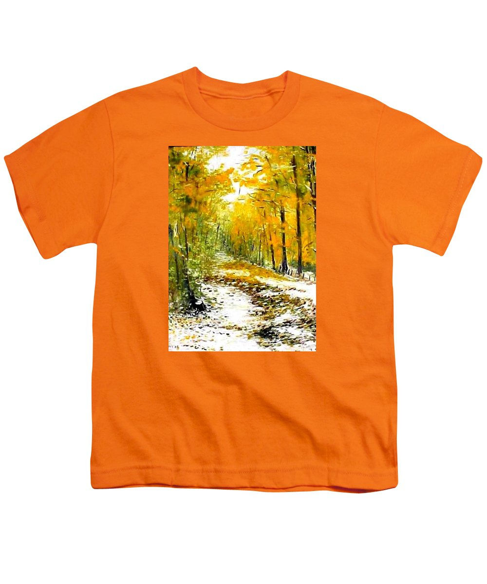 Landscape Youth T-Shirt featuring the painting First Snow by Boris Garibyan