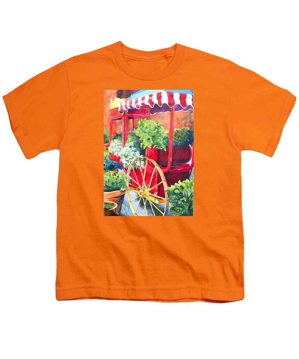 Floral Youth T-Shirt featuring the painting Flower Wagon by Karen Stark