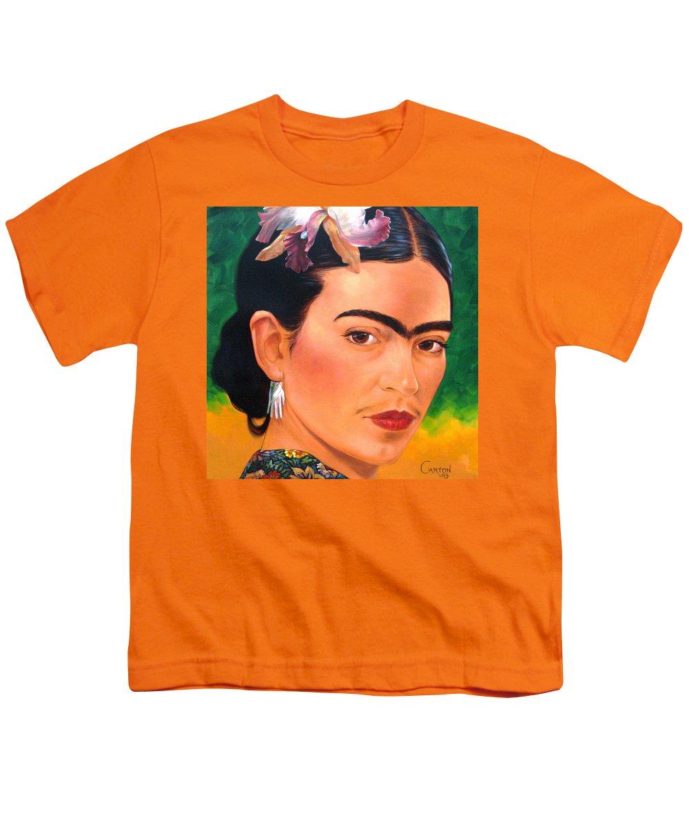 Frida Kahlo Youth T-Shirt featuring the painting Frida Kahlo 2003 by Jerrold Carton