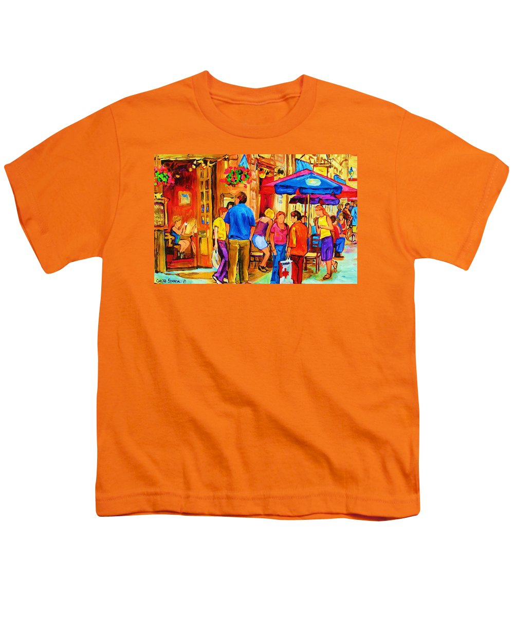 Montreal Cafe Scenes Youth T-Shirt featuring the painting Girl In The Cafe by Carole Spandau