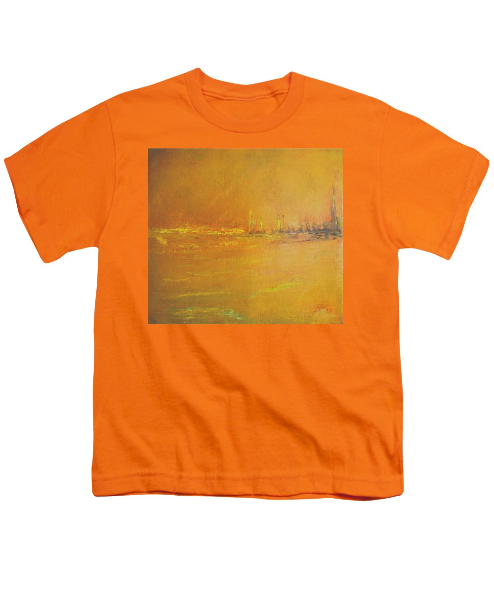 Ships Youth T-Shirt featuring the painting Golden Sky by Jack Diamond