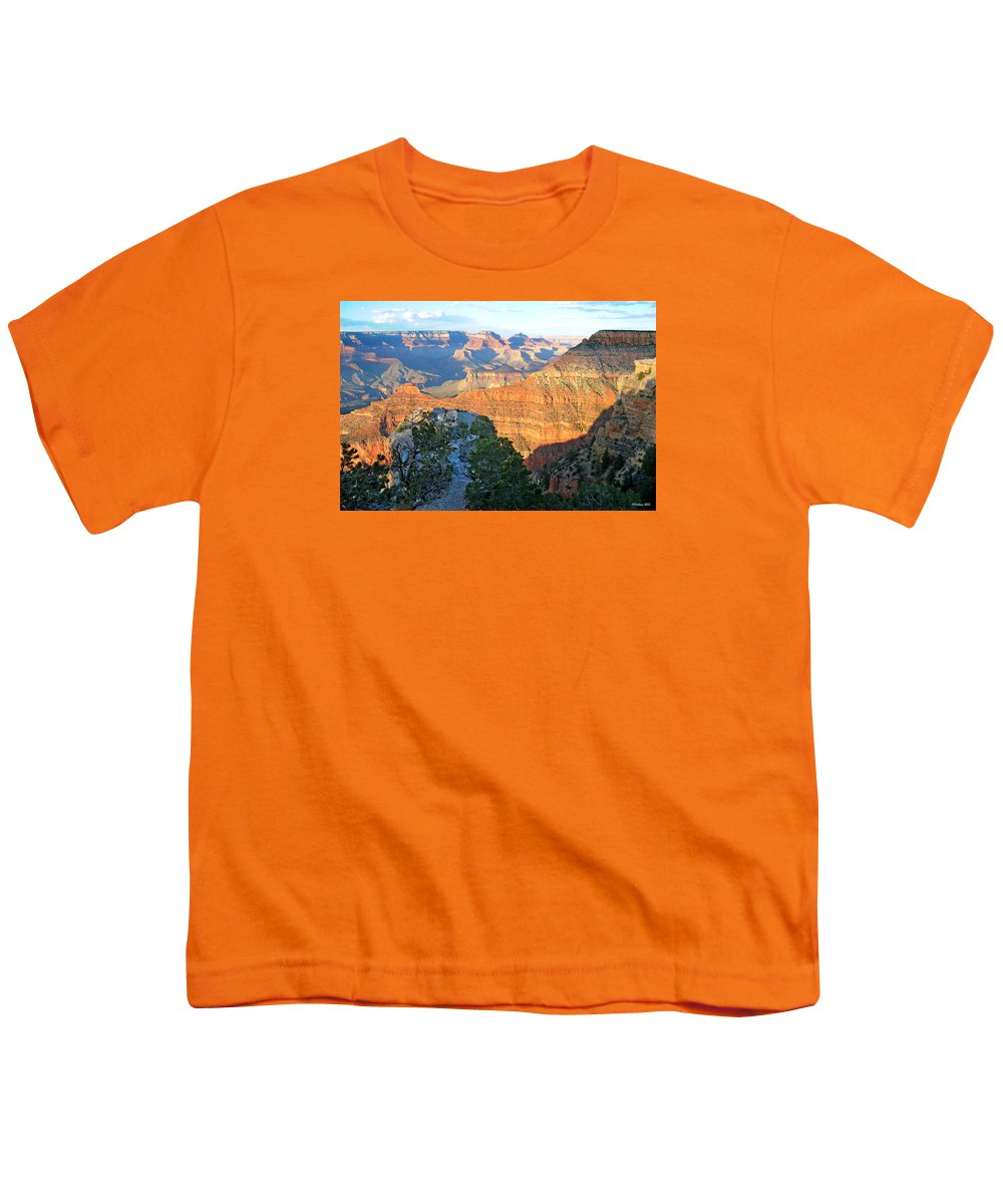 Grand Canyon Youth T-Shirt featuring the photograph Grand Canyon South Rim at Sunset by Victoria Oldham