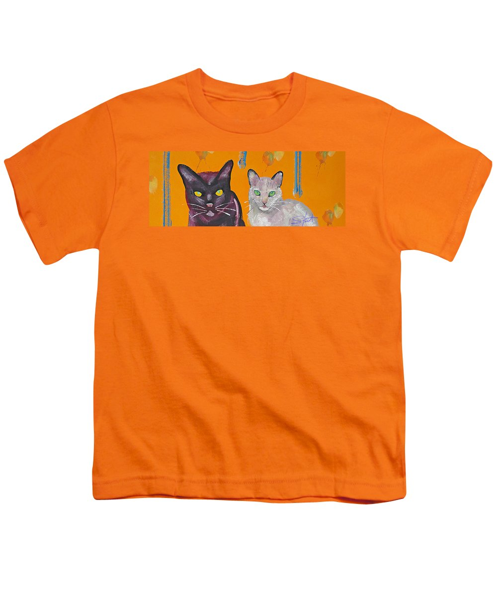 Cat Youth T-Shirt featuring the painting House Cats by Charles Stuart